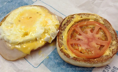 Jack in the Box Egg White & Turkey Breakfast Sandwich Closeup
