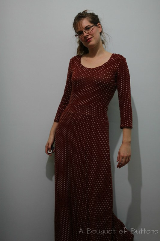 renfrew, long dress, jurk, lange jurk, polka dot, sewaholic