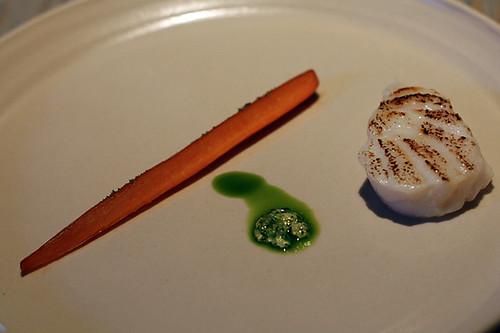 cod, carrot, pine emulsion