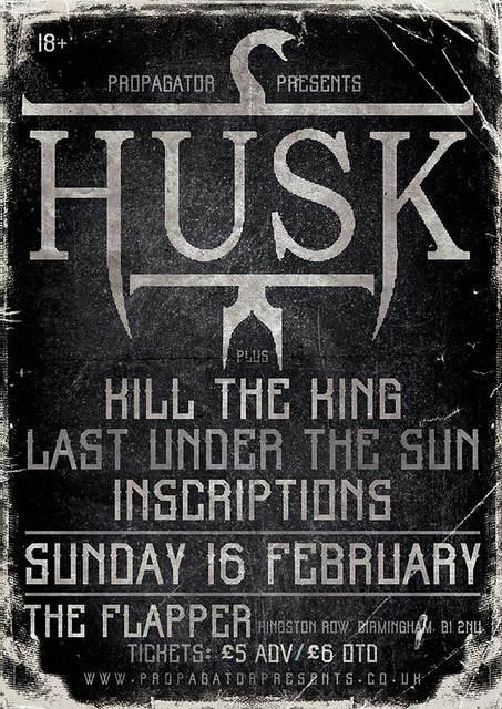 Husk, Kill the King, Last Under The Sun, Inscriptions Sun 16 Feb 2014 at The Flapper and Firkin