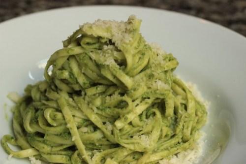 tagliarini with pumpkin seed and herb pesto