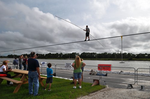 Nik Wallenda Trains for June 23, 2013 Grand Canyon Walk at Nathan Benderson Park. Can You Spot Herald-Tribune Photographer Thomas Bender? Sarasota, Fla., Friday, June 7, 2013