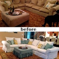 White Sectional slipcover:: Before and After