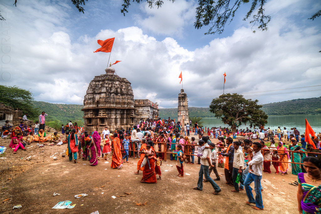 Devotees flock the Kamalja Devi Temple, at the Lonar lake