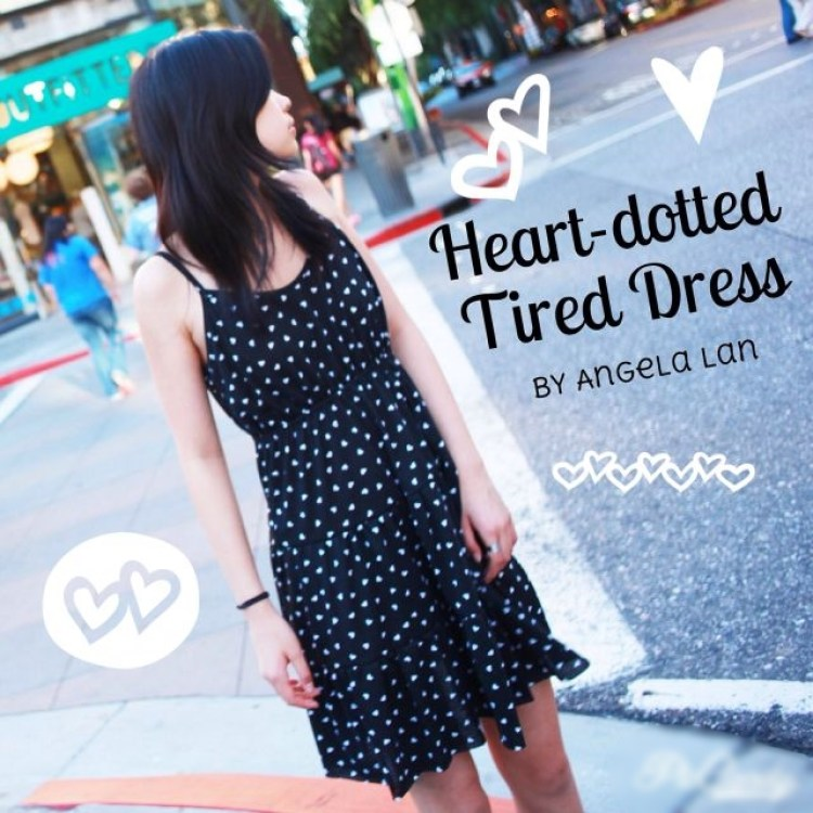 heart-dotted tired dress