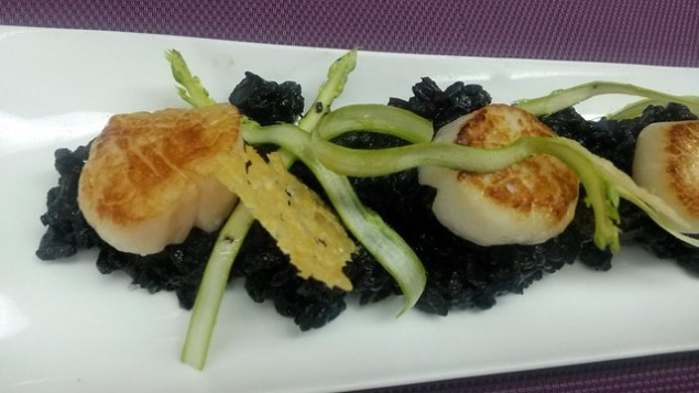 Scallops & black ink risotto