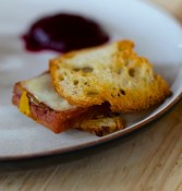 A Knuckle Sandwich with mustard licked pork hock and smoked cheddar | Blacktail Florist