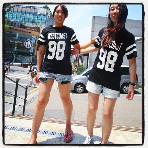 """We immediately spotted some girls in a coffee shop we went to have a quick meeting and noticed the """"West Coast"""" sports jerseys and were debating whether not to approach them for picture when I noticed that they were wearing matching jerseys T-shirts and t"""