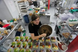 Lina Caschetto prepping salads at The Juice Truck Store Front