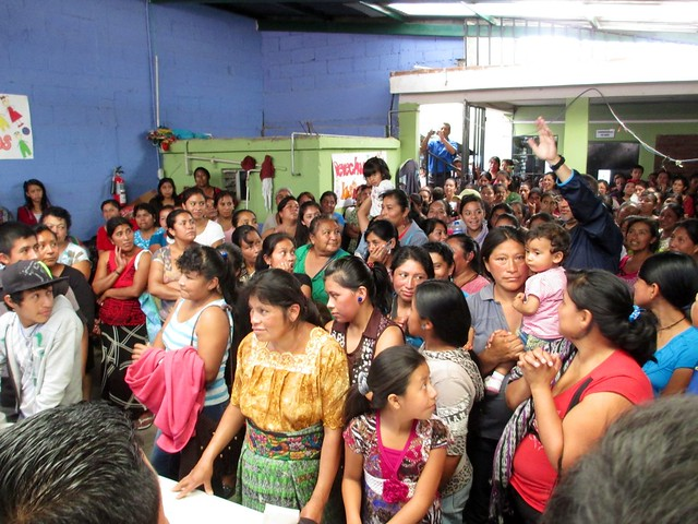 A Packed Crowd Waits for Soap During the Soap Distribution Trip to Guatemala with Clean the World at a Children International Facility. #soapsaveslives