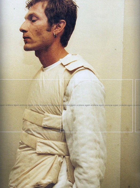 long sleeve t shirt and padded silk velcro vest- helmut lang, 1999