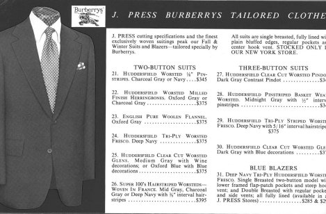 J. Press Burberrys Tailored Clothes