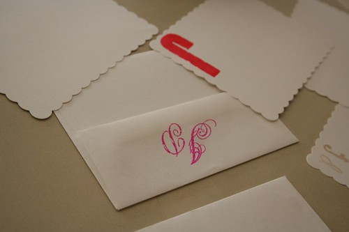 Handmade wedding gift: initial stationery