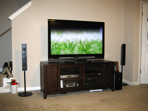 The Sony bigscreen TV on new stand with Sony s...