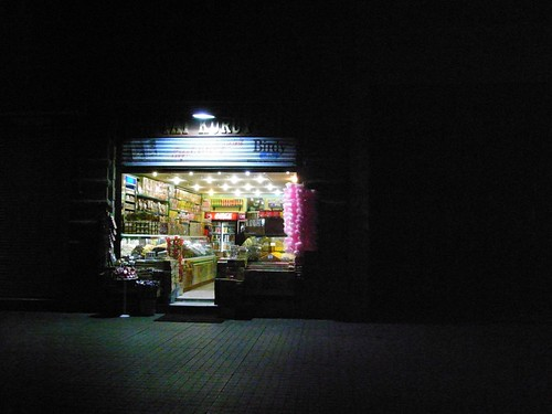 A lit up shop in Istanbul