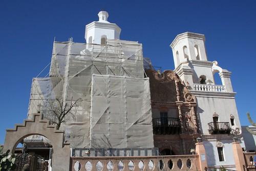 San Xavier Mission is being refurbished
