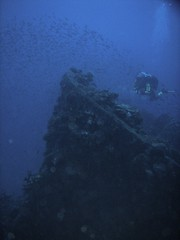 Ship's bow in Truk lagoon