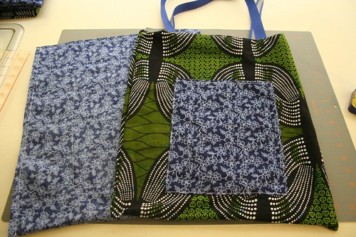 ribbon tote tutorial, right sides sewn together, ready to join lining, exterior