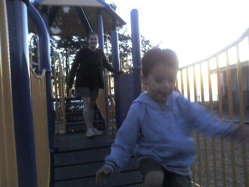 At the park in Half Moon Bay at sunset