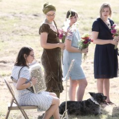 Accordion, non-matching bridesmaids & a dog. YES!