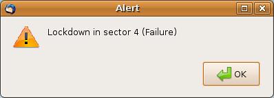 Alert Dialog: Lockdown In Sector 4 (Failure)