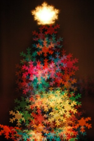 snow flake bokeh christmas tree