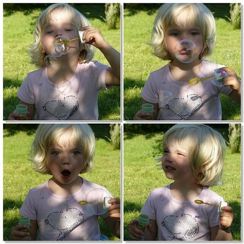 Blowing soap bubbles - mosaic