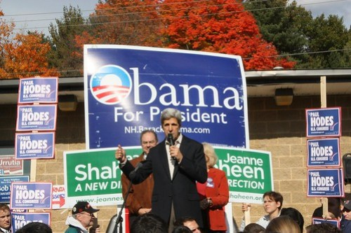 Sen. John Kerry speaks from a pickup truck in Nashua