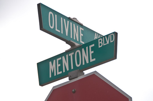 Mentone Street Signs - Olivine Ave