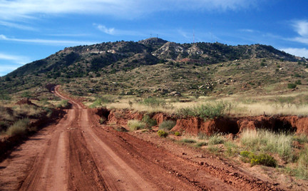 The trail at the base of Tucumcari Mountain.