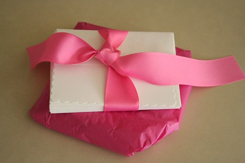 Pink love: wedding gift wrapped and ready