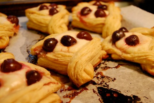 cherry cheese croissants cooling