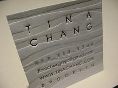 Tina Chang Letterpress Business Card (closeup)