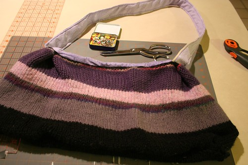 Ready to be wrapped -- knit/lined/felted market bag