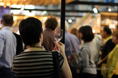 Tasting sparkling wine at Salone del Gusto in Turin