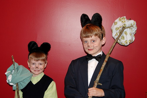 Max and Brian dressed up as Pip and Kitteh from the Laugh Out Loud Cats