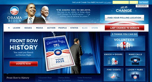 barackobama.com Front Page Above The Scroll Screenshot - 11/02/08