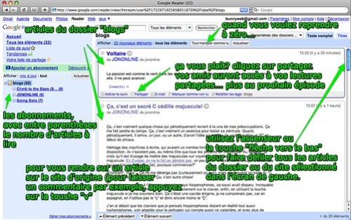 Google Reader: tour du proprio