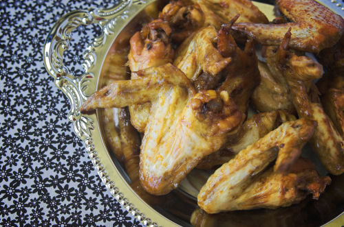 Soy poached chicken wings