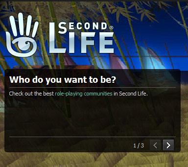 Second Life Login Screen