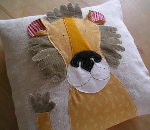 Rooaarr! - appliqued pillow