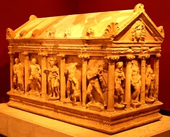 Ancient sarcophagi at the Antalya Archaeology Museum, Izmir, Turkey