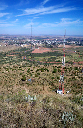 The view from the top of Tucumcari Mountain, looking north-northeast.