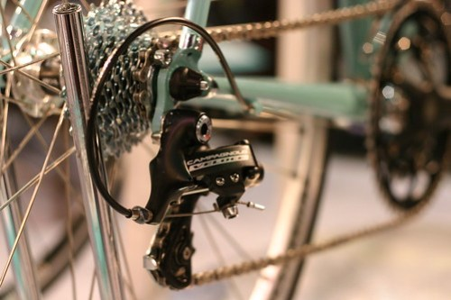 Campy Veloce on the  Bianchi steel Dolomiti