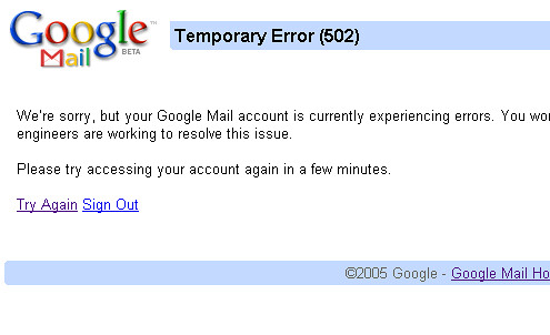 Google Mail down (08-08-12)