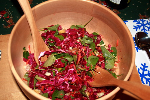 Watercress, Red Cabbage & Carrot Salad with Roasted Chestnuts