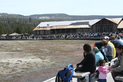 Peeps waiting for Old Faithful
