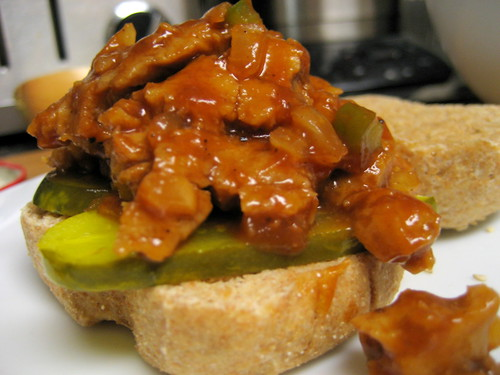 barbecue seitan sandwich