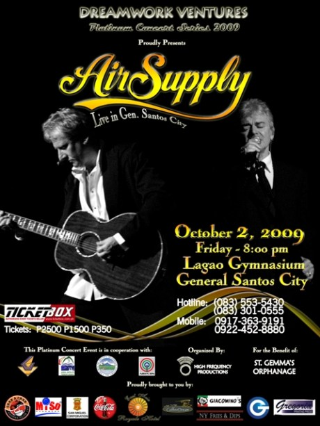 The poster for the Air Supply Live in GenSan Concert