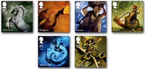 The Mythical Creatures stamp series by Dave McKean